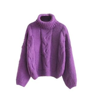 Sweaters - Oversized Turtleneck Cable Knit Sweater in Purple